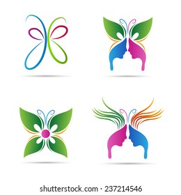Abstract butterfly vector design represents beauty salon, spa, signs and symbols.