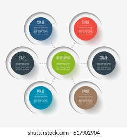 Abstract button elements, 6 branches, options or parts. Creative concept for infographic. Business data visualization. Process chart. Vector template for presentation