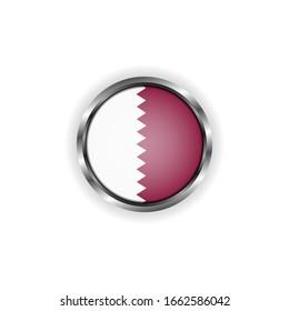 Abstract button with stylish metallic frame. Qatar flag vector illustration