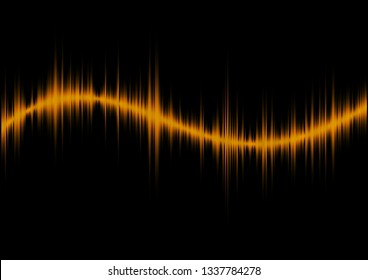Abstract byellowequalizer, frequency waveform graph. Vector illustration