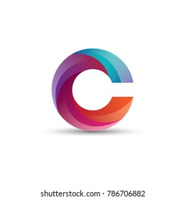 Abstract C Letter Logo Design, Glossy Effect
