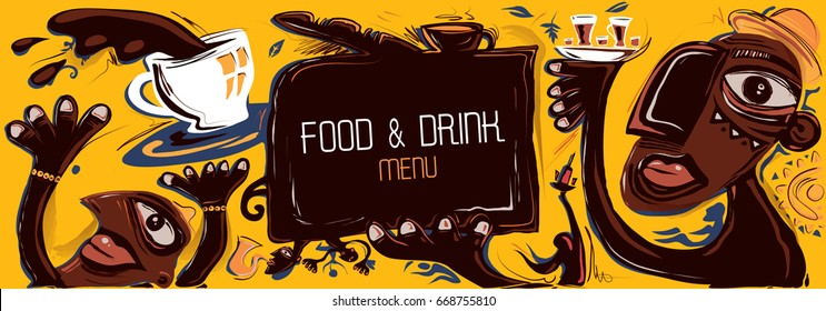 Abstract Cafe Banner, African Style Artwork (Vector Art)