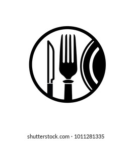 abstract cafe sign with plate, fork and knife