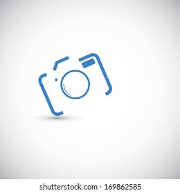 Abstract camera icon on the grey background