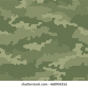 Abstract camouflage seamless pattern. Hexagon (honeycomb) texture. Green and beige color.
