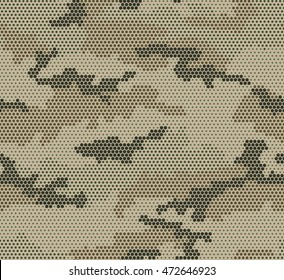 Abstract camouflage seamless pattern. Hexagon (honeycomb) texture.Green,black, brown color. Beige background.