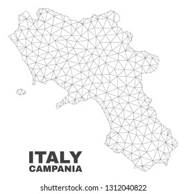 Abstract Campania region map isolated on a white background. Triangular mesh model in black color of Campania region map. Polygonal geographic scheme designed for political illustrations.