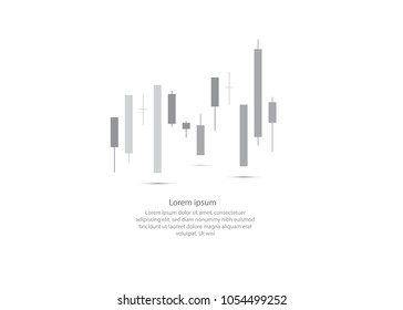 Abstract Candlestick graph background finance, forex, Cryptocurrency and stock market. Vector for financial presentation.Copy space.
