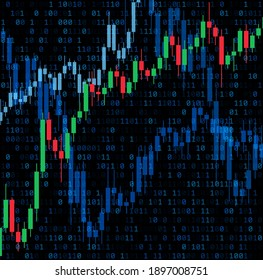 Abstract candlestick graphics binary code background. Business, IT analytics. Vector illustration.