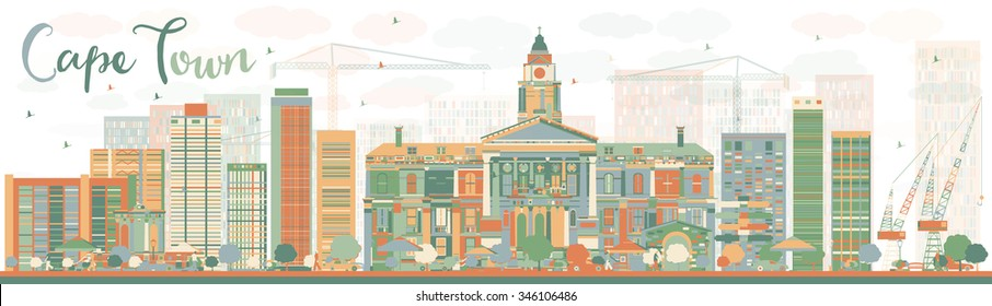 Abstract Cape Town skyline with color buildings. Vector illustration. Business travel and tourism concept with modern buildings. Image for presentation, banner, placard and web site.