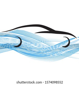 Abstract car and blue waves, Hydrogen cars vector