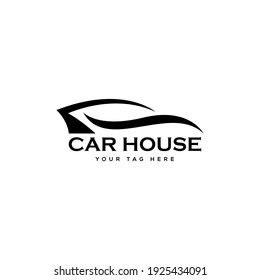 Abstract Car logo sign symbol for Automotive Company. Black Car Repair Logo Template with Wrench wheels. Abstract Car silhouette for Automotive Company and Repairing car. Vector Eps