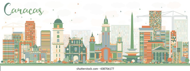 Abstract Caracas Skyline with Color Buildings. Vector Illustration. Business Travel and Tourism Concept with Historic Buildings. Image for Presentation Banner Placard and Web Site.