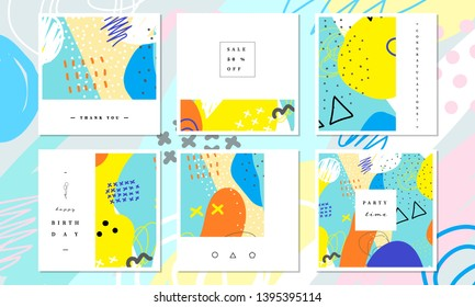 Abstract card collection. Beautiful art painting colored with hand drawing element for social media banner, thank you and greeting card. Cute card template. Abstract collage art vector illustration.