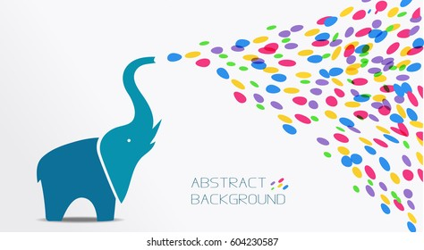Abstract card with elephant spraying colorful spots and stains