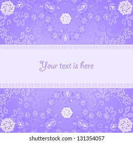 Abstract card with floral painting on  lilac background