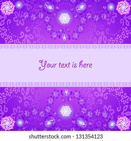 Abstract card with floral painting on magenta background