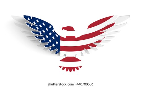 Abstract card with silhouette eagle, painted in an American flag. Paper wings in Pop-up style. Kirigami design. Vector illustration