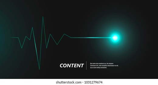 Abstract cardiogram on dark background. Vector banner design
