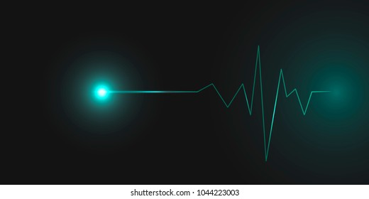 Abstract cardiogram on dark background. Vector banner design.
