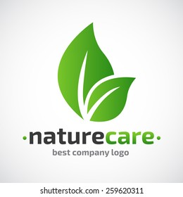 Abstract  care vector logo  Eco icon, with green leaf