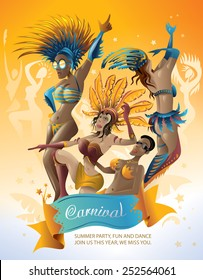 Abstract Carnival Party, Carnaval Girls Artwork (Vector Art)
