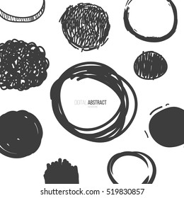 Abstract cartoon background with circles doodle form.