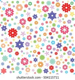 Abstract cartoon flowers. Seamless pattern