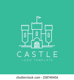 Abstract Castle Line Style or Outlined Vector Logo Template