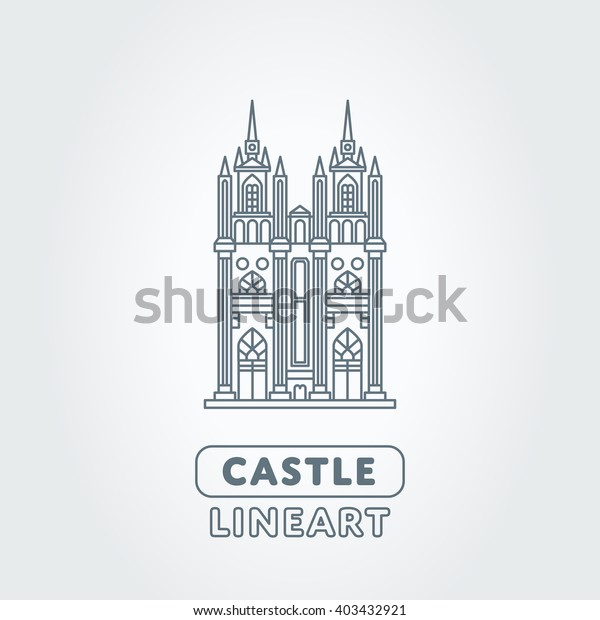 Abstract castle vector logo template. Tower sign