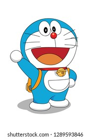 abstract cat cartoon characters. blue and white cartoon characters, clown red noses