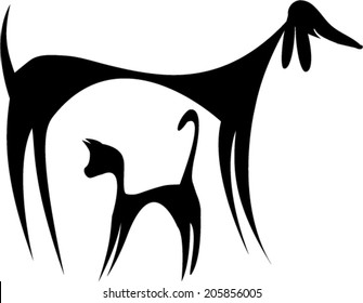 Abstract cat and dog silhouette/Abstract cat and dog silhouette/vector design