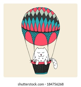 abstract cat flying in an air balloon