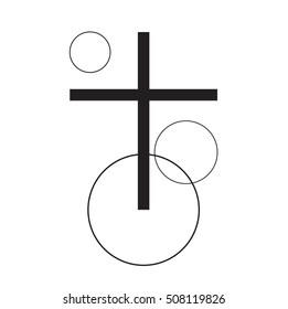 Abstract catholic shining cross sign