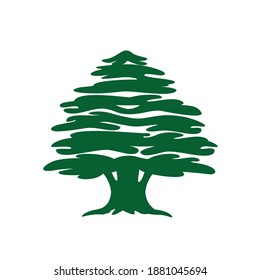 Abstract cedar tree. Lebanese cedar silhouette can be used in logo design, icon, symbol. Vector illustration.