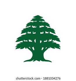 Abstract cedar tree. Silhouette of the cedar of Lebanon can be used in logo design, icon, symbol. Vector illustration.