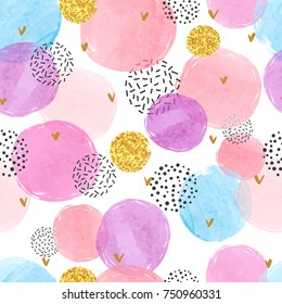 Abstract celebration background with watercolor circles. Colorful vector seamless pattern.