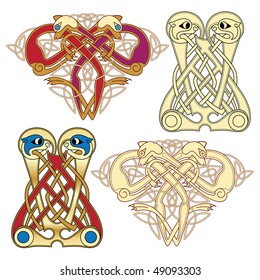 abstract celtic color design works - zoomorph motifs