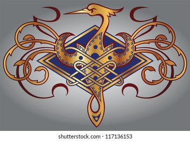Abstract Celtic design for your artwork and tattoos - zoomorph motifs