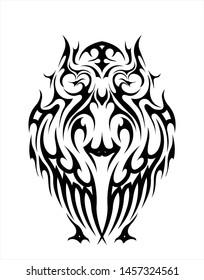 abstract celtic wisdom owl bird tattoo silhouette