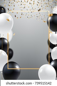 Abstract ceremonial silver background with black and white balloons. Gold frame and falling golden confetti. A4 design concept for grand opening invitation, sale banner, party flyer. Vector eps 10.