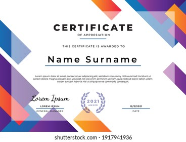 Abstract certificate design template, can be used for event, graduation, appreciation, attendance, etc.