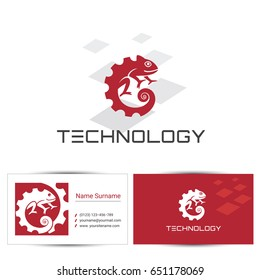 Abstract chameleon icon with business card design template. Can be used for the concept of technology logo or digital company, industrial engineering.