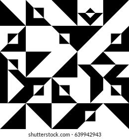 Abstract chaotic geometric pattern. Decorative black and white ornament. Pattern of geometric shapes