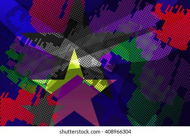 Abstract chaotic pattern with urban geometric elements, scuffed, drops, sprays, triangles. Grunge neon texture background. Wallpaper