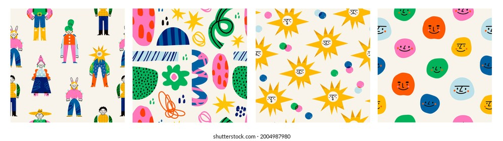 Abstract characters, various bright doodle shapes. Disproportionate faces. Different figures. Set of three Hand drawn Vector seamless Patterns. Background, wallpaper, Wrapping, textile template