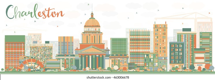 Abstract Charleston Skyline with Color Buildings. West Virginia. Vector Illustration. Business Travel and Tourism Concept with Modern Buildings. Image for Presentation Banner Placard and Web Site.