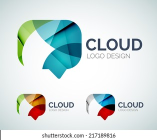 Abstract chat cloud logo design made of color pieces - various geometric shapes
