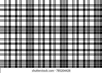 Abstract check pixel plaid seamless pattern black and white. Vector illustration.