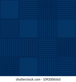Abstract Checkered Knitted Sweater Pattern. Vector Seamless Background with Shades of Blue Colors. Wool Knit Texture Imitation